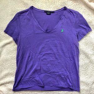 Ralph Lauren Sport Purple V-Neck Shirt